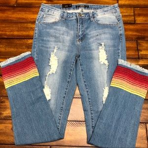 Lucky & Blessed Embroidered Distressed Jeans 12